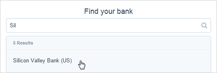 Image of the find your bank search box with an identifiable bank name.