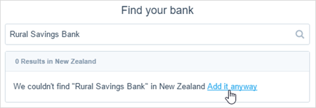 Image of the find your bank search box with an unknown bank name.