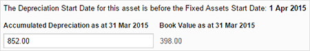 Image showing asset purchased before FA start date with opening accumulated depreciation entered.
