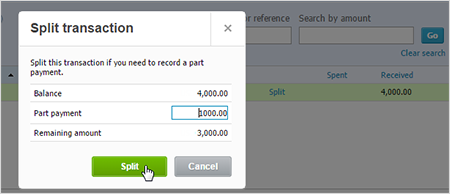 Image of the Split screen and the part payment