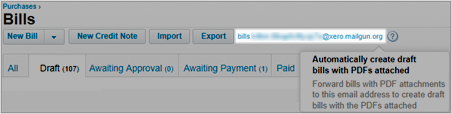 Image of your Xero Bills email address at the top of the screen.