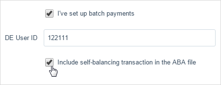 Image showing the fields for setting up batch payments in your bank account.